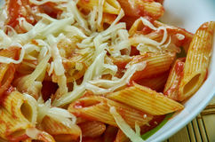 Basic Parmesan Pomodoro. Best Pasta  penne close up Royalty Free Stock Images
