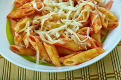 Basic Parmesan Pomodoro. Best Pasta  penne close up Royalty Free Stock Image