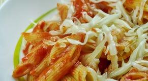 Basic Parmesan Pomodoro. Best Pasta  penne close up Stock Photography
