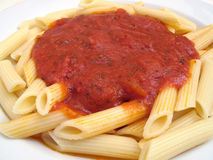 Basic Pasta and Tomato Sauce Stock Photo