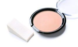 Basic powder makeup isolate. On white stock photography