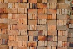 Basic red house bricks stacked Stock Photos