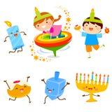 Hanukkah Cartoons set. Set of cartoon children and holiday symbols for Hanukkah