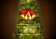 Christmas background golden bells and christmas tree. Illustration of Christmas background golden bells and christmas tree royalty free illustration