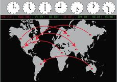 Global Trading With Exchanges And Time Zones stock illustration