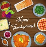 Thanksgiving greeting card with menu foods wood background stock illustration