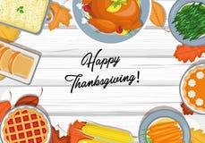 Thanksgiving dinner on the table stock illustration