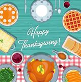 Thanksgiving meal on the table. Thanksgiving greeting card in flat style design vector illustration