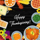 Thanksgiving meal on the table. Thanksgiving greeting card in flat style design royalty free illustration