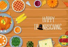 Thanksgiving greeting card dinner table in flat style design vector illustration