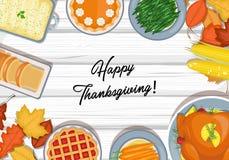 Thanksgiving dinner table royalty free illustration