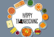 Thanksgiving greeting card in flat style design royalty free illustration