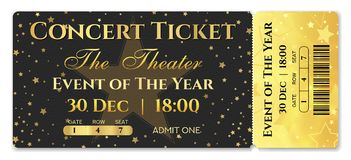 Admission ticket template. Vector mockup concert ticket tear-off with star royalty free illustration