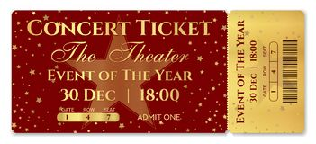 Admission ticket template. Vector mockup concert ticket tear-off with star vector illustration
