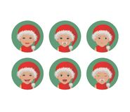 Set of cute baby Santa Claus face expressions. Happy Christmas child in a Santa`s red hat avatars. vector illustration