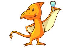 Vector Cartoon Illustration Of Dinosaur. Vector cartoon illustration of cute dinosaur pteranodon with beer glass. Isolated on white background stock illustration