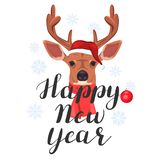 Happy New Year. Lettering with cute deer. Happy New Year. Lettering with a cute deer on a snowy background