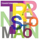 Transformation illustration. Colorful block text abstract graphics transformation on white royalty free illustration