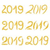 Set of inscriptions 2019 made in gold glitters effect. Isolated on white background stock illustration