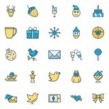 Christmas Celebration Isolated Vector Icons Set that can be easily modified or edit in any style. royalty free illustration