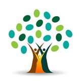 Family tree logo, family, parent, kids,green love, parenting, care, symbol icon design vector on white background. In ai 10 illustrations royalty free illustration