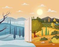Open door. Winter and summer. Valley landscape. Cartoon vector illustration. Vintage poster. Welcome to summer. Doorway to the holidays. Concept of seasons vector illustration