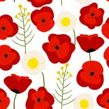 Colorful seamless floral pattern, summer field royalty free illustration
