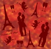 Valentine`s Day seamless pattern with Eiffel Tower, lovers silhouette and cupid stock illustration