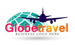 Globe world Travel people logo icon element vector on white background. Globe world Travel people airplane logo icon element vector on white background. in ai10 stock illustration