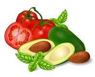 Vector set of tomatoes and avocados. Vector set of tomatoes and avocados vector illustration