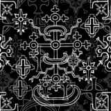 Seamless pattern with fantasy crosses and sacred geometry emblems on white stock illustration