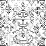 Seamless pattern with fantasy crosses and sacred geometry on white vector illustration