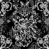 Seamless pattern with gothic fantasy crosses with lily and roses on black vector illustration