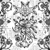 Seamless pattern with fantasy crosses and sacred geometry emblems on whiteSeamless pattern with fantasy crosses with lily and rose royalty free illustration