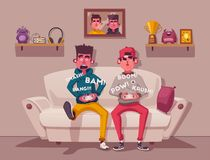 Friends is gaming. Gamers playing video game. Cartoon vector illustration. Friends is gaming. Nerds room interior. Gamers playing video game. Cartoon vector vector illustration