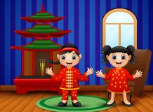 Cartoon chinese kids in the living room vector illustration