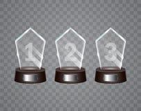 Glass Trophy Award. Glass trophy mockup stand on clear base.Vector illustration stock illustration
