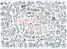 Set of social media doodles - Vector royalty free illustration