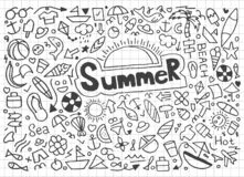 Summer beach hand drawn vector symbols and objects - Vector royalty free illustration