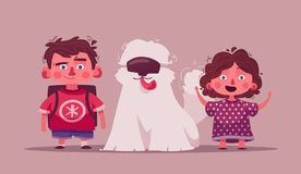 Little children with pet. Cartoon vector illustration. Best friend. Character design. Happy child on a dog. Friendly funny puppy. Friendship and family concept royalty free illustration