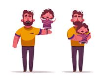 The best dad and daughter. Happy together. Cartoon vector illustration. Happy Father`s day card royalty free illustration