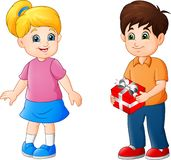 Cute Little boy giving present to a girl royalty free illustration