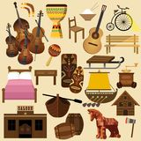 Wooden things like house, ship, table, bed stock illustration