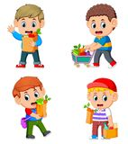 Set collection of young man holding grocery shopping bag with vegetables and fruit. Illustration of set collection of young man holding grocery shopping bag with vector illustration