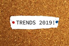 Trends 2019 heading. Pinned to cork board stock images