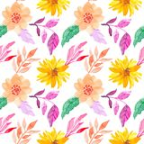 Colorful seamless watercolor flowers pattern stock photography