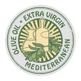 Grunge rubber stamp with the olives and text Extra Virgin Olive Oil. Vector illustration royalty free illustration