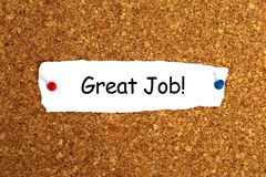 Great job heading. Pinned to cork board royalty free stock image