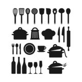 Kitchenware utensils pots and tools black silhouette icon set. Kitchen appliances, cutlery, silverware, cooking pan pod, bottles and glasses vector icons stock illustration