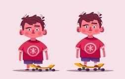 Cute boy character. Cartoon vector illustration. Schoolboy with a skateboard. Little kid. Skateboarding concept vector illustration